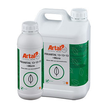 FOLIARTAL 13-13-13 + T.E. is a liquid foliar spray fertilizer