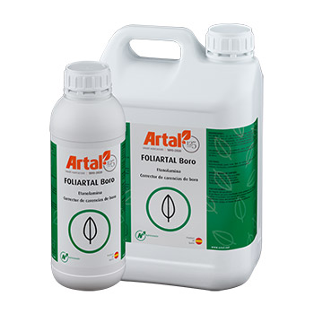 FOLIARTAL B is a liquid foliar fertilizer that is quickly absorbed and assimilated by the crop, rich in Boron