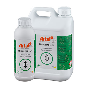FOLIARTAL L-24 is a liquid foliar fertilizer that is quickly absorbed and assimilated by the crop, rich in Calcium and with Boron