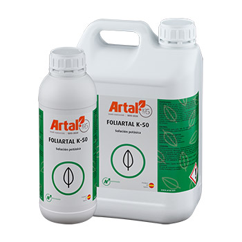 FOLIARTAL K50 is a liquid foliar fertilizer that is quickly absorbed and assimilated by the crop, rich in potassium